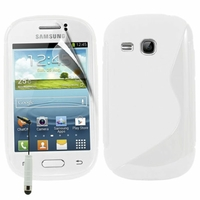 Samsung Galaxy Young S6310 Duos S6312 GT-S6310L: Coque silicone Gel motif S au dos + mini Stylet - BLANC