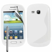 Samsung Galaxy Young S6310 Duos S6312 GT-S6310L: Coque silicone Gel motif S au dos + Stylet - BLANC