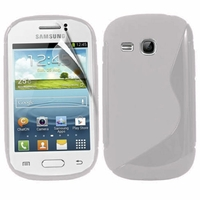 Samsung Galaxy Young S6310 Duos S6312 GT-S6310L: Coque silicone Gel motif S au dos - TRANSPARENT