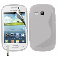 Samsung Galaxy Young S6310 Duos S6312 GT-S6310L: Coque silicone Gel motif S au dos + mini Stylet - TRANSPARENT