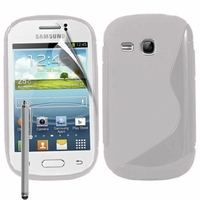 Samsung Galaxy Young S6310 Duos S6312 GT-S6310L: Coque silicone Gel motif S au dos + Stylet - TRANSPARENT