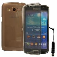 Samsung Galaxy Grand 2 SM-G7100 SM-G7102 SM-G7105 SM-G7106: Coque Silicone gel Livre rabat + mini Stylet - GRIS
