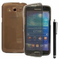 Samsung Galaxy Grand 2 SM-G7100 SM-G7102 SM-G7105 SM-G7106: Coque Silicone gel Livre rabat + Stylet - GRIS