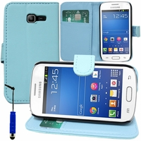 Samsung Galaxy Trend Lite S7390/ Galaxy Fresh Duos S7392: Etui portefeuille Support Video cuir PU + mini Stylet - BLEU
