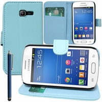 Samsung Galaxy Trend Lite S7390/ Galaxy Fresh Duos S7392: Etui portefeuille Support Video cuir PU + Stylet - BLEU