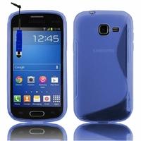 Samsung Galaxy Trend Lite S7390/ Galaxy Fresh Duos S7392: Coque silicone Gel motif S au dos + mini Stylet - BLEU