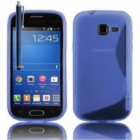 Samsung Galaxy Trend Lite S7390/ Galaxy Fresh Duos S7392: Coque silicone Gel motif S au dos + Stylet - BLEU