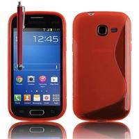 Samsung Galaxy Trend Lite S7390/ Galaxy Fresh Duos S7392: Coque silicone Gel motif S au dos + Stylet - ROUGE