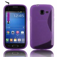 Samsung Galaxy Trend Lite S7390/ Galaxy Fresh Duos S7392: Coque silicone Gel motif S au dos + mini Stylet - VIOLET