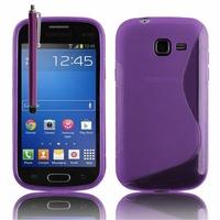 Samsung Galaxy Trend Lite S7390/ Galaxy Fresh Duos S7392: Coque silicone Gel motif S au dos + Stylet - VIOLET