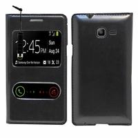 Samsung Galaxy Trend Lite S7390/ Galaxy Fresh Duos S7392: Etui flip coque S-View support  + mini Stylet - NOIR