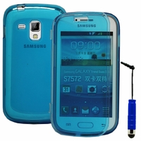 Samsung Galaxy Trend S7560/ Galaxy S Duos S7562/ Ace II X S7560M: Coque Silicone gel Livre rabat + mini Stylet - BLEU