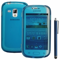 Samsung Galaxy Trend S7560/ Galaxy S Duos S7562/ Ace II X S7560M: Coque Silicone gel Livre rabat + Stylet - BLEU
