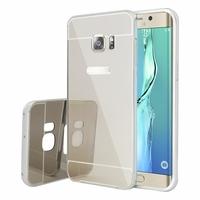 Samsung Galaxy S6 edge+ SM-G928F/ S6 edge PLUS/ edge+ Duos G928G G928T G928A G928I G928V G928P G928R (non compatible Galaxy S6/ S6 edge): Coque Aluminium 2 en 1 Couvercle Luxe Mirroir + Cardre Regide - ARGENT