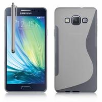 Samsung Galaxy A3 SM-A300F A300FU/ A3 Duos SM-A300F/DS A300G/DS A300H/DS A300M/DS (non compatible Galaxy A3 (2016)): Coque silicone Gel motif S au dos + Stylet - TRANSPARENT
