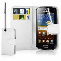 Samsung Galaxy Ace S5830/ S5839i/ La Fleur/ Hugo Boss: Etui portefeuille Livre Housse Coque Pochette cuir PU - BLANC