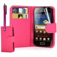 Samsung Galaxy Ace S5830/ S5839i/ La Fleur/ Hugo Boss: Etui portefeuille Livre Housse Coque Pochette cuir PU - ROSE