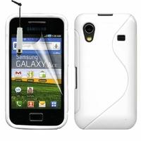 Samsung Galaxy Ace S5830/ S5839i/ La Fleur/ Hugo Boss: Coque silicone Gel motif S au dos + mini Stylet - BLANC