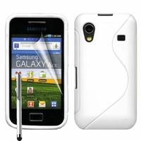 Samsung Galaxy Ace S5830/ S5839i/ La Fleur/ Hugo Boss: Coque silicone Gel motif S au dos + Stylet - BLANC