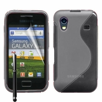 Samsung Galaxy Ace S5830/ S5839i/ La Fleur/ Hugo Boss: Coque silicone Gel motif S au dos + Stylet - GRIS