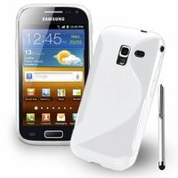 Samsung Galaxy Ace 2 i8160: Coque silicone Gel motif S au dos + Stylet - BLANC