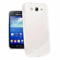 Samsung Galaxy Core I8260/ I8262 Dual Sim: Coque silicone Gel motif S au dos - BLANC