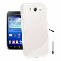 Samsung Galaxy Core I8260/ I8262 Dual Sim: Coque silicone Gel motif S au dos + mini Stylet - BLANC