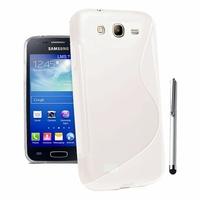 Samsung Galaxy Core I8260/ I8262 Dual Sim: Coque silicone Gel motif S au dos + Stylet - BLANC