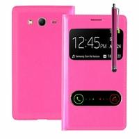 Samsung Galaxy Grand Plus/ Grand Neo/ Grand Lite I9060 I9062 I9060I i9080 I9082: Etui flip coque S-View support  + Stylet - ROSE