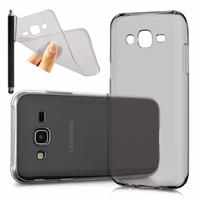 Samsung Galaxy J5 SM-J500F/ J500FN (non compatible Galaxy J5 (2016)): Coque Silicone gel UltraSlim et Ajustement parfait + Stylet - GRIS