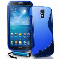 Samsung Galaxy Mega 6.3 I9200/ SGH-i527: Coque silicone Gel motif S au dos + mini Stylet - BLEU