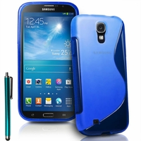 Samsung Galaxy Mega 6.3 I9200/ SGH-i527: Coque silicone Gel motif S au dos + Stylet - BLEU