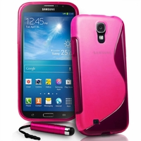 Samsung Galaxy Mega 6.3 I9200/ SGH-i527: Coque silicone Gel motif S au dos + mini Stylet - ROSE