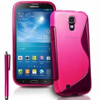 Samsung Galaxy Mega 6.3 I9200/ SGH-i527: Coque silicone Gel motif S au dos + Stylet - ROSE