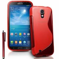 Samsung Galaxy Mega 6.3 I9200/ SGH-i527: Coque silicone Gel motif S au dos + Stylet - ROUGE
