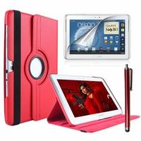 Samsung Galaxy Note 10.1 N8000 N8010 N8020: Etui Cuir PU Support Rotatif 360° + Stylet - ROUGE