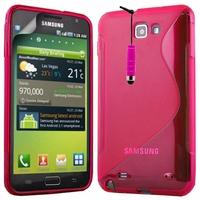 Samsung Galaxy Note N7000/ i9220 LTE: Coque silicone Gel motif S au dos + mini Stylet - ROSE
