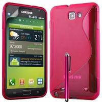 Samsung Galaxy Note N7000/ i9220 LTE: Coque silicone Gel motif S au dos + Stylet - ROSE