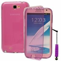 Samsung Galaxy Note 2 N7100/ N7105: Coque Silicone gel Livre rabat + mini Stylet - VIOLET