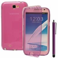 Samsung Galaxy Note 2 N7100/ N7105: Coque Silicone gel Livre rabat + Stylet - VIOLET