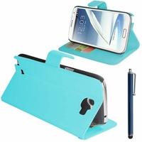 Samsung Galaxy Note 2 N7100/ N7105: Etui portefeuille Support Video cuir PU + Stylet - BLEU