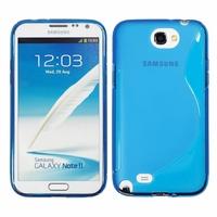 Samsung Galaxy Note 2 N7100/ N7105: Coque silicone Gel motif S au dos - BLEU
