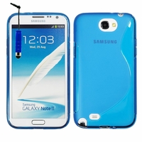 Samsung Galaxy Note 2 N7100/ N7105: Coque silicone Gel motif S au dos + mini Stylet - BLEU