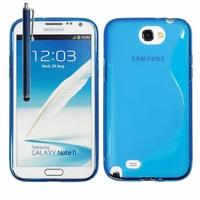 Samsung Galaxy Note 2 N7100/ N7105: Coque silicone Gel motif S au dos + Stylet - BLEU