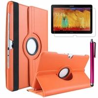 Samsung Galaxy Note 10.1 2014 Edition P600 P601 P605 3G LTE: Etui Cuir PU Support Rotatif 360° + Stylet - ORANGE