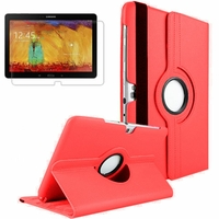 Samsung Galaxy Note 10.1 2014 Edition P600 P601 P605 3G LTE: Etui Cuir PU Support Rotatif 360° - ROUGE