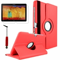 Samsung Galaxy Note 10.1 2014 Edition P600 P601 P605 3G LTE: Etui Cuir PU Support Rotatif 360° + mini Stylet - ROUGE