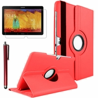 Samsung Galaxy Note 10.1 2014 Edition P600 P601 P605 3G LTE: Etui Cuir PU Support Rotatif 360° + Stylet - ROUGE