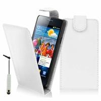 Samsung Galaxy S2 i9100/ i9105G/ Plus: Etui Simili Cuir + mini Stylet - BLANC
