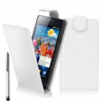 Samsung Galaxy S2 i9100/ i9105G/ Plus: Etui Simili Cuir + Stylet - BLANC